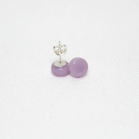 Lilac Purple Round Glass Stud Earrings - Sterling Silver - Free UK Postage