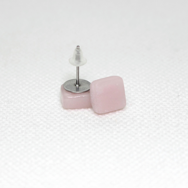 Pale Pink Square Glass Stud Earrings - Surgical Steel - Free UK Postage
