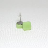 Apple Green Square Glass Stud Earrings - Surgical Steel - Free UK Postage