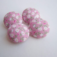 Fabric Buttons - Pink Sprigs
