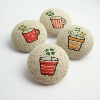 Fabric Buttons - Shed full of Shamrocks