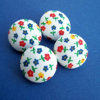 *SaLe* Fabric Buttons - Spring Scatter (white)