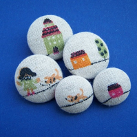 *SaLe* Fabric Buttons - Sweet Suburbia