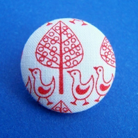 Fabric Buttons - Forest Parade white