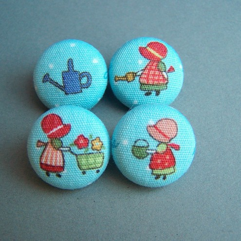 Fabric Buttons - Garden Girls