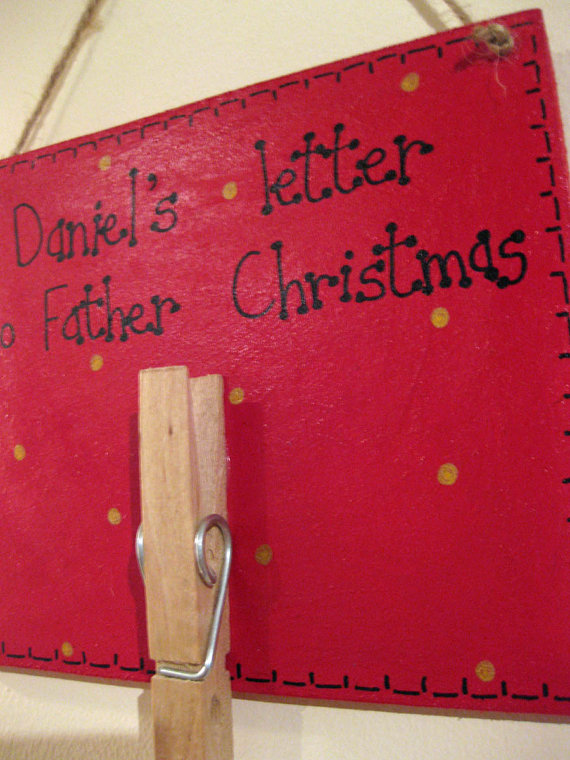 Personalised Wooden Father Christmas Plaque