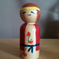 SALE - Baku - Handpainted Kokeshi Doll