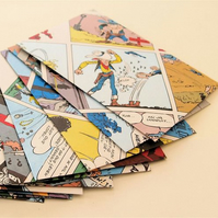 SET of 10 ORIGINAL UPCYCLED ENVELOPES Lucky Luke Comic FREE P&P