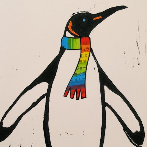 Set of 5 GREETING CARDS in RECYCLED HANDMADE ENVELOPES..hand-printed LINOCUT..PENGUINS..unique stationary..FREE P&P