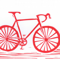 Greeting card with original LINO PRINT .. bicycle .. Free P&P in UK