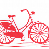 Greeting card with original LINO PRINT. Bicycle. Bike