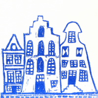 GREETING CARD in HANDMADE ENVELOPES.. LINOCUT.. AMSTERDAM