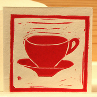 Greeting card with original LINO PRINT .. Teacup