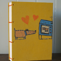 Handmade journal with Coptic stitch. A gift for Valentine's Day perhaps?