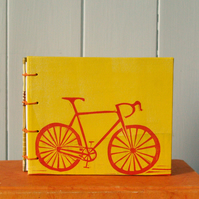Handmade notebook-sketchbook for bicycle lovers. Coptic stitch. Travel journal.