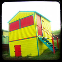 GREETING CARD. Yellow Beach Hut. Seaside. Through the Viewfinder. Photography