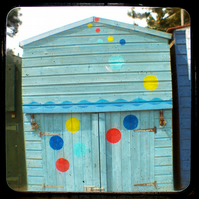GREETING CARD. Blue Beach Hut. Seaside. Through the Viewfinder. Photography