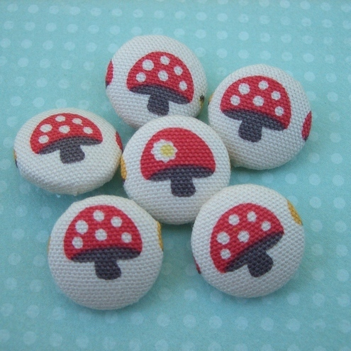 Toadstool fabric buttons