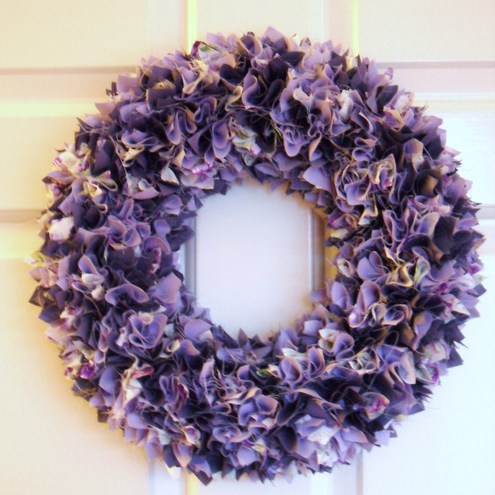 Luxury Purple Lilac Fabric Wreath Door/Wall Decoration
