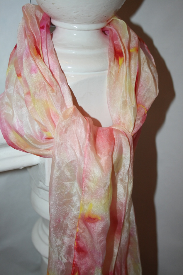 Silk Scarf- Pink and Yellow
