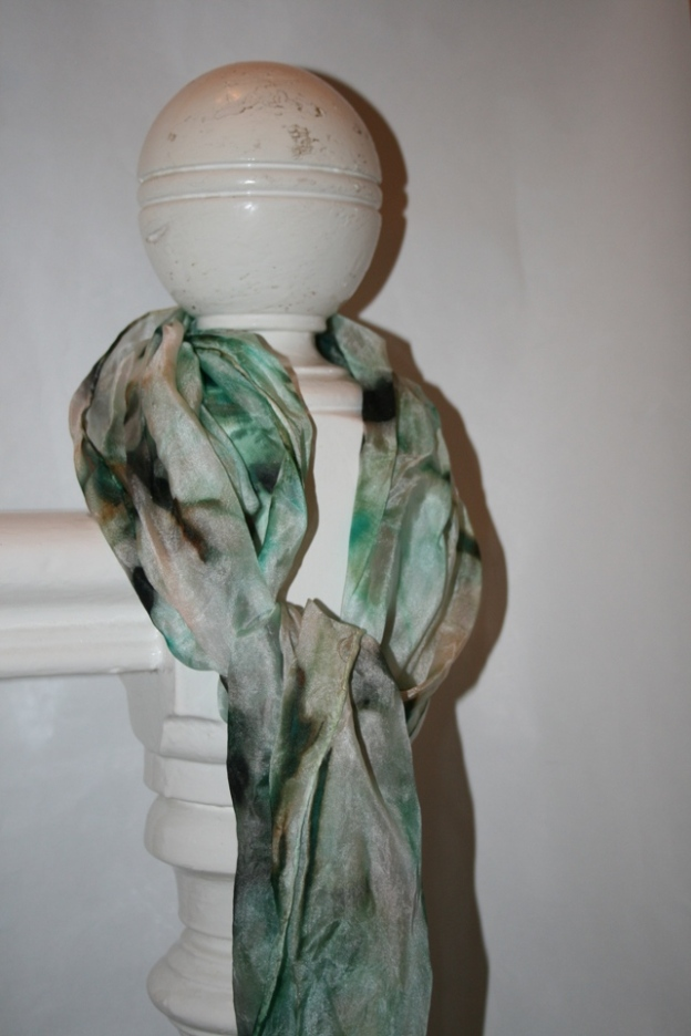 Silk Scarf- Green, brown and black