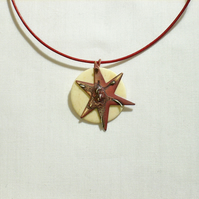 Star and Moon Pendant copper and silver