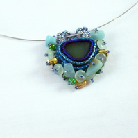Turquoise Cluster Sea Glass Pendant