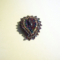 Burgundy Paisley Beaded Brooch