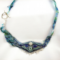 River Necklace, Beaded, Blue and Green Sea Glass