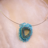 Turquoise Sea Glass Beaded Pendant
