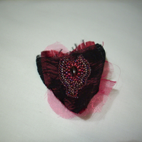 Satin and Chiffon Heart Brooch