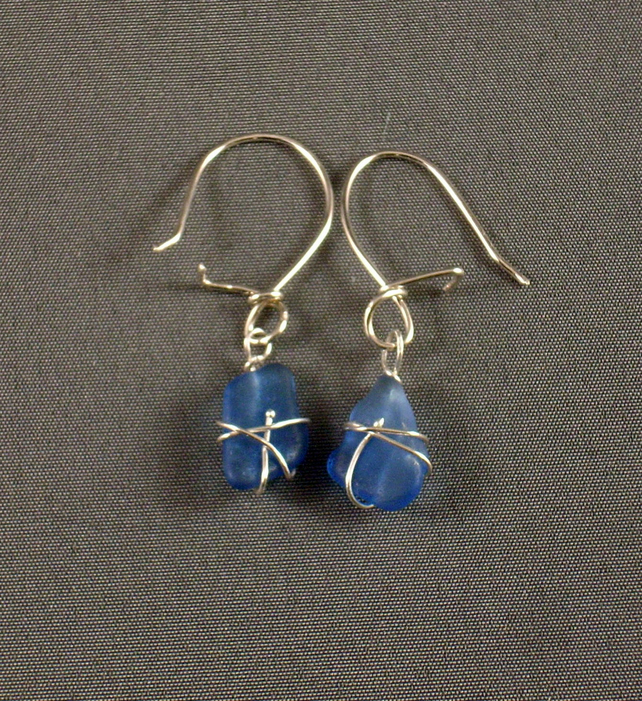 Blue Sea Glass and Silver Earrings,