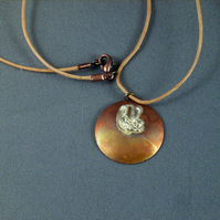 Copper and Silver Pendant 'Rabbit Ears'