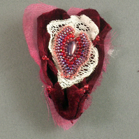 Velvet and Lace Heart Brooch