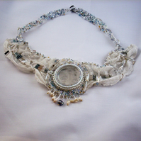 Crystal and White Lace Necklace