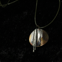 Falling Rain, Copper and Silver Pendant