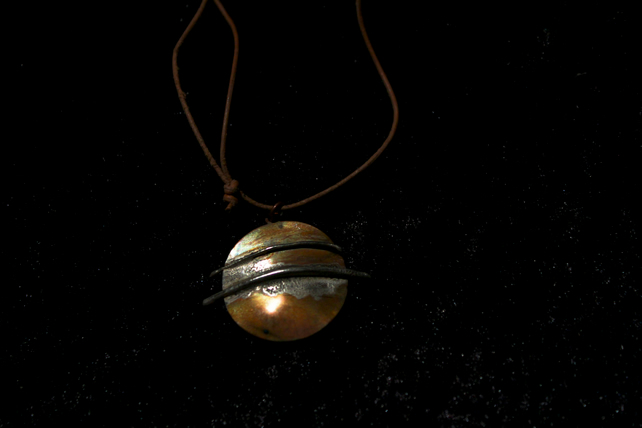 Copper and Silver Planet Pendant