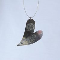 Plume and Flower Heart Copper and Silver Pendant