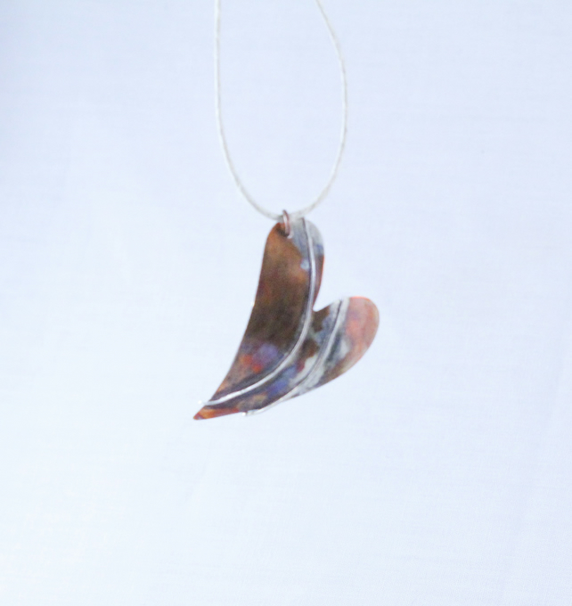 Double Bar Heart Copper and Silver Pendant