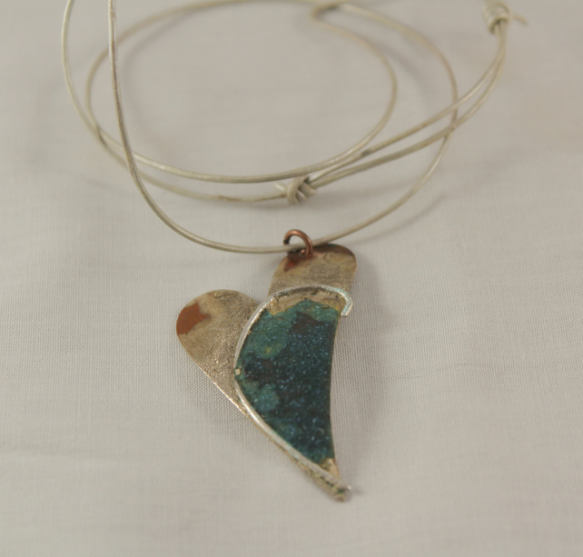 Copper and Silver Turquoise Enamelled Heart Pendant