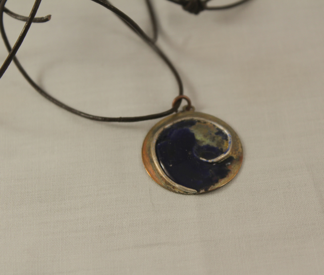 Blue Enamel Copper and Silver Circular Pendant