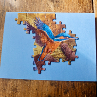 Jigsaw Puzzle Greetings Card - Kingfisher