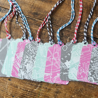 15 Vintage Street Map of London Small Gift Tags, Pink, Grey and Teal