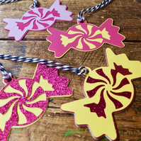 8 Candy Shaped Gift Tags - Pink and Yellow