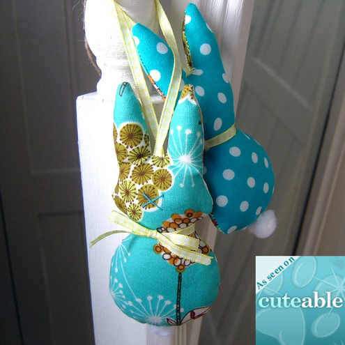 Cute Turquoise Retro Bunny Plush Easter Decoration Door Hanger