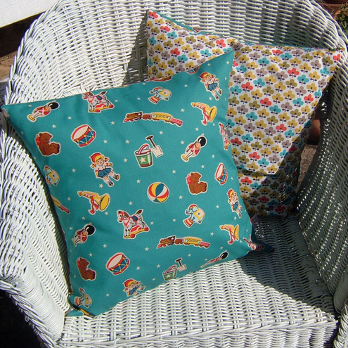 Fun Turquoise Retro Toys Print Cushion