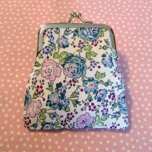 "Pretty Pink & Blue Floral ""Felicite"" Liberty Print Small Coin Clasp Purse"