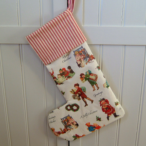 "Retro Vintage Style ""Jolly Christmas"" Christmas Stocking"