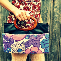 Delilah vintage fabric and leather fold-under handbag