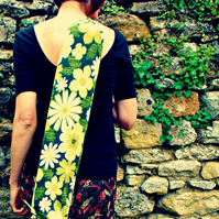 Vintage fabric yoga mat bag - daisy green